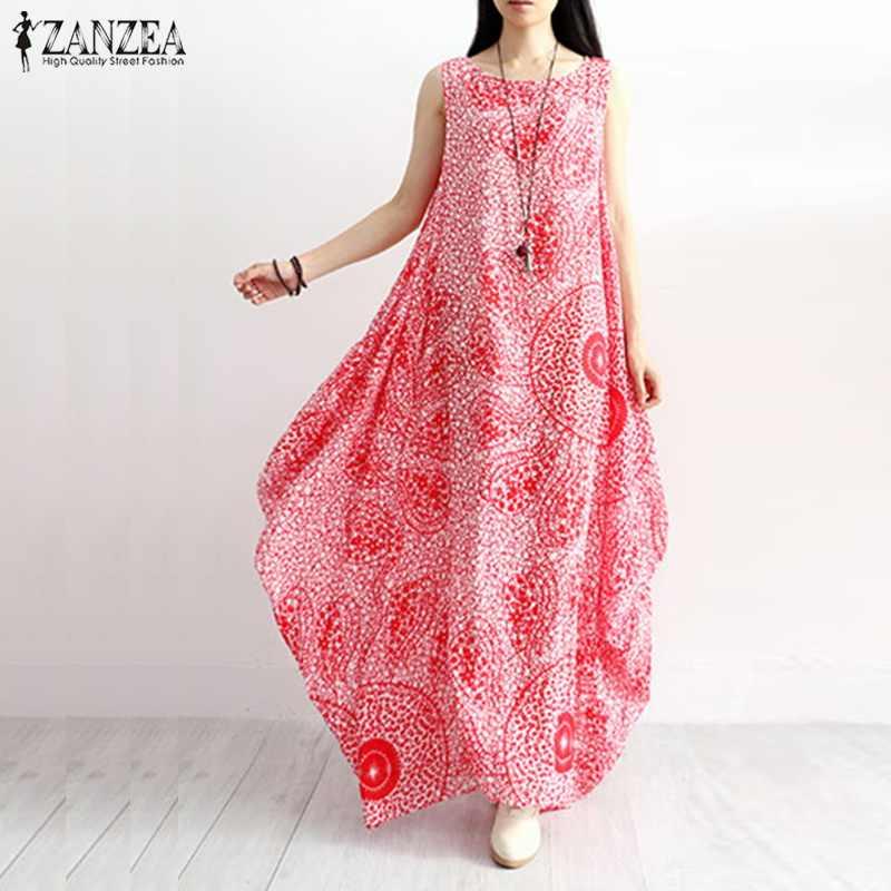 e8e685680d0 ZANZEA Casual Summer Long Dresses Women Boho Print Beach Sundress Female  Sleeveless Tank Vestido Plus Size