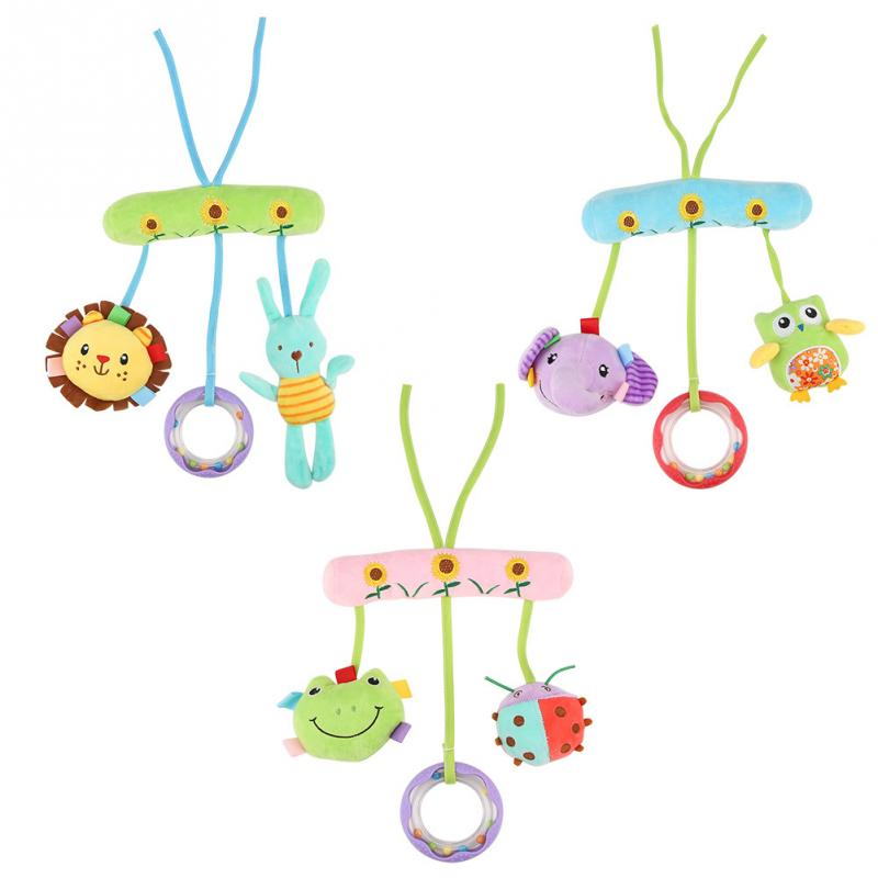 Baby Cute Toys Soft Musical Newborn Kids Animal Mobile Stroller Plush Playing Doll for Crib Accessories