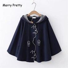 MERRY PRETTY Women Outerwear & Cloak 2019 Autumn Cartoon Embroidery Hooded Coat
