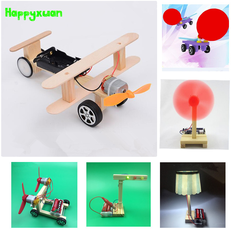 Happyxuan 6 sets/lot DIY Physical Science Experiment Toy Children Airplane Car Wood Assemble Model Kit Creative Educational Gift image