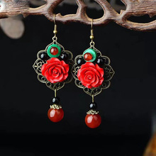 Chinese Dangle Drop Earrings For Women Flower Jewelry Handmade Ethnic Earrings Vintage Design Bead Accessories Wedding party chinese ethnic dangle earrings for women handmade drop earrings vintage jewelry bead accessories wedding party gift