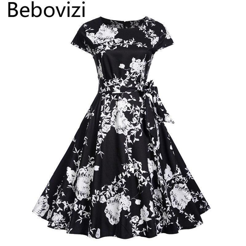 2018 New Black Summer Bandage Dress Women Floral Cap Sleeve Vintage Elegant Rockabilly Party Midi Dresses Sundress Plus Size