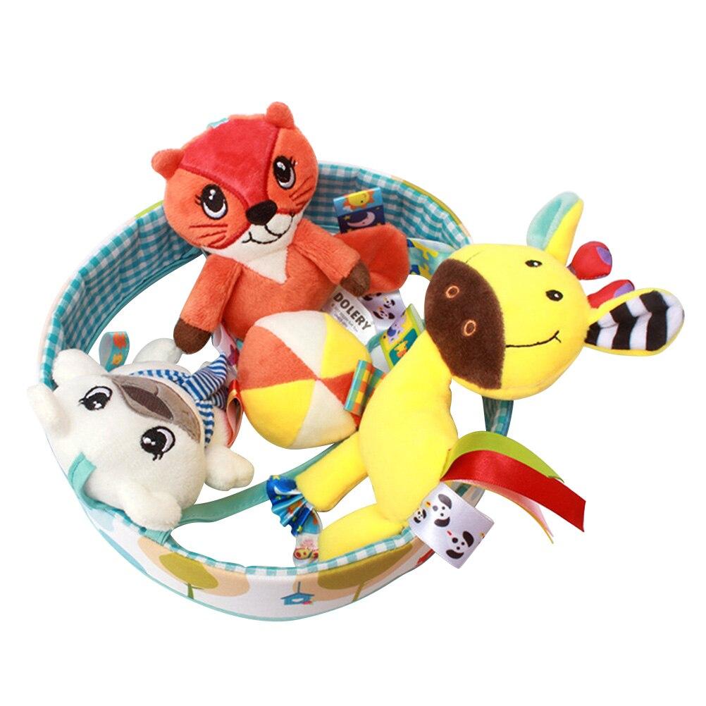 1 Pc Wieg Pop Rotatie Opknoping Dier Patroon Leuke Pluche Muziek Rammelaar Bed Bel Pop Speelgoed Voor Pasgeboren Baby Peuters