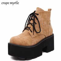 brown punk boots women ladies platform boots High Heel winter shoes motorcycle Ankle Boots waterproof snow boots lace up YMA441