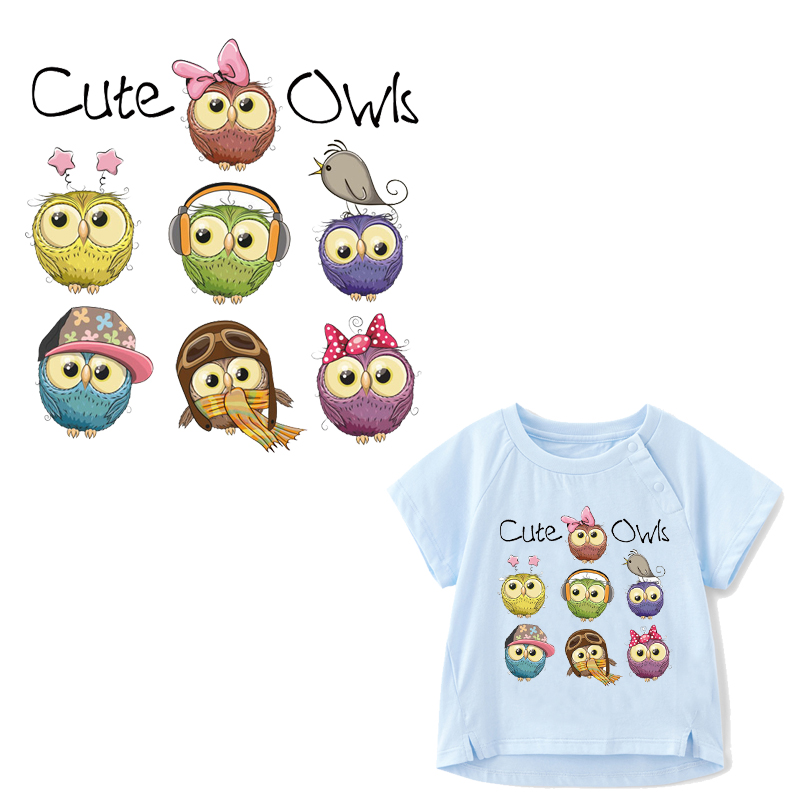 Cute Owls DIY Patches for Clothes Children T shirt Dresses Washable Heat Transfer Vinyl Iron on Patch Print By Household Irons in Patches from Home Garden