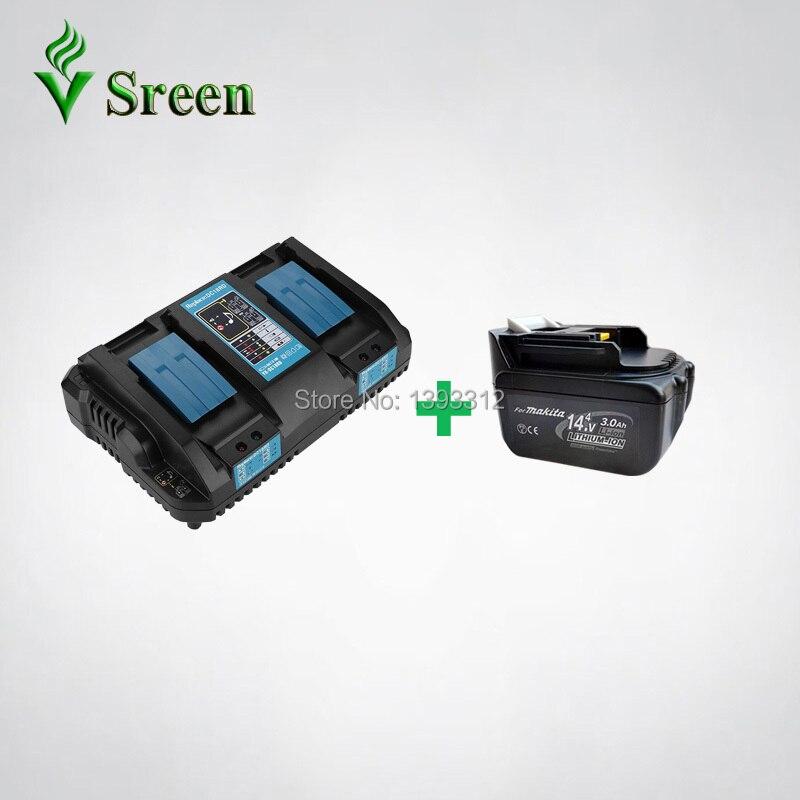 BL1430 3000 mAh Remplacement pour Makita 14.4 V batterie lithium-ion Packs avec Double Batterie Rechargeable Puissance Outil chargeur rapide
