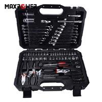 124 pcs Mechanica Hand Tool Set Algemene Huishoudelijke Hand Repair Tools Met Plastic Toolbox Opslag Case Dopsleutel Schroevendraaier