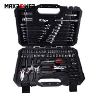 124pcs Mechanics Hand Tool Set General Household Hand Repair Tools With Plastic Toolbox Storage Case Socket Wrench Screwdriver