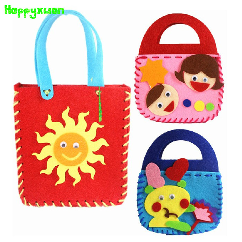 Happyxuan 5pcs/lot Make Handmade Handbags DIY Felt Crafts Kit Kids Girl Sewing Toys Kindergarten Creative Art Fine Motor Skills