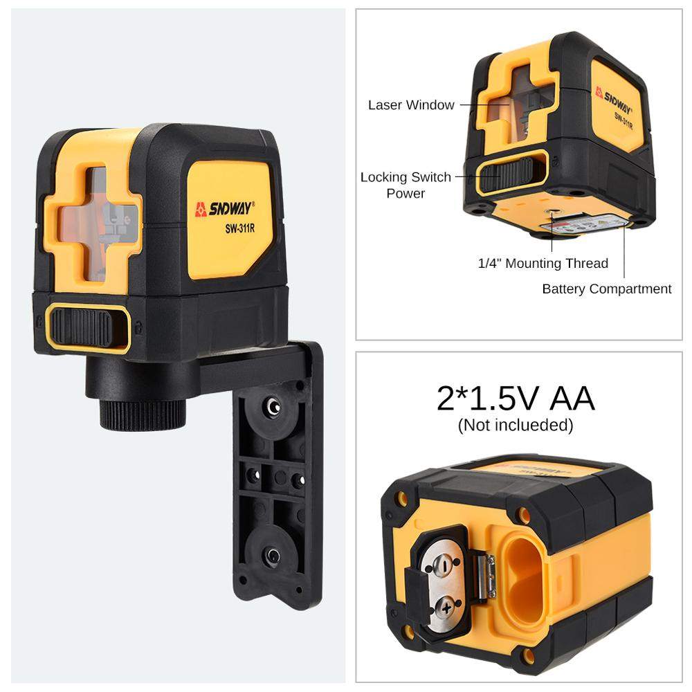 Sndway 2 Lines Self leveling Laser Level Green Red Vertical Horizontal Cross laser Level Construction Tools