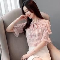 2019 Summer Wear Short Sleeve Chiffon Shirt Woman Wave Point Bow Circle Temperament Jacket