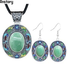 Oval Natural Jades Stone Jewelry Sets Vintage Necklace Earrings Hand Painting Craft Flower Plant Bohemia Fashion Jewelry TS453