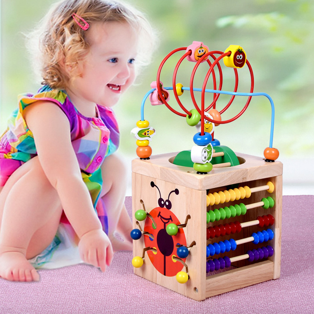 Wooden Activity Cube Bead Maze Abacus Counting Kids Educational Learning Multi-function Treasure Box Roller Coaster Toys Set