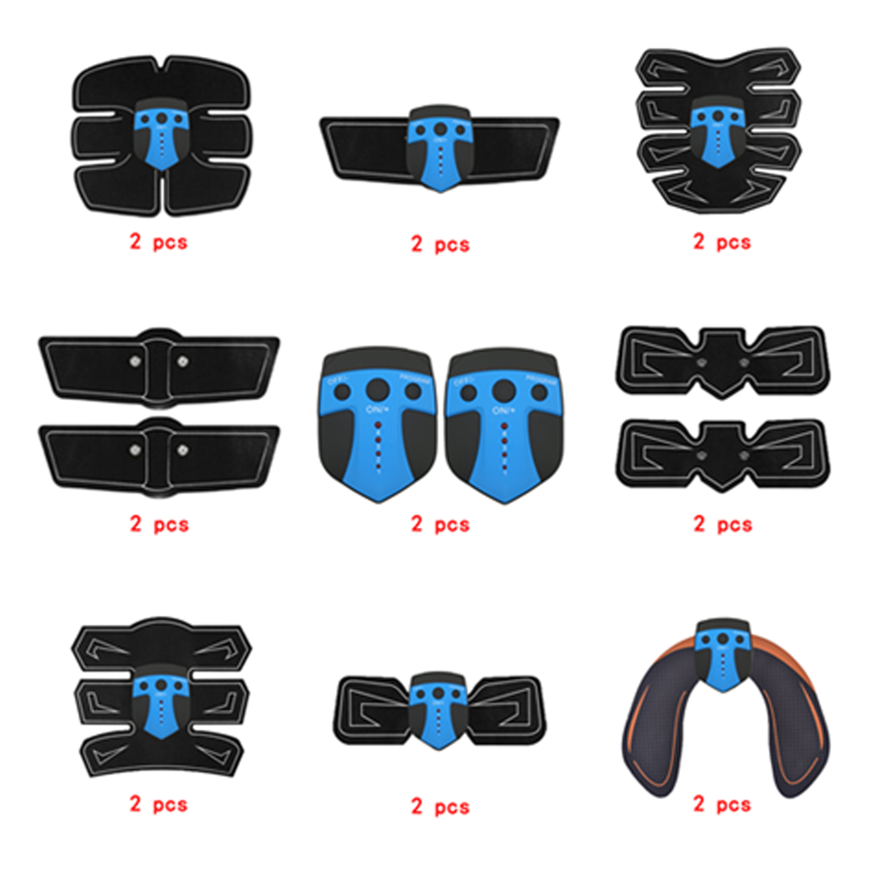 2pc Replacement Part Muscle Stimulator EMS Figure Slimming Machine Abdominal Muscle Tens Exercise Slim Belt Rechargeable Blue in Slimming Product from Beauty Health
