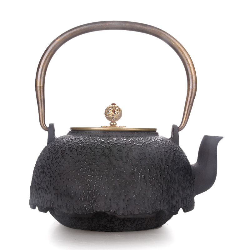 Copper cover Japanese cast iron pot handmade teapot boiler water kettle teaware Chinese kungfu tea puer pot ceremony 1.2LCopper cover Japanese cast iron pot handmade teapot boiler water kettle teaware Chinese kungfu tea puer pot ceremony 1.2L