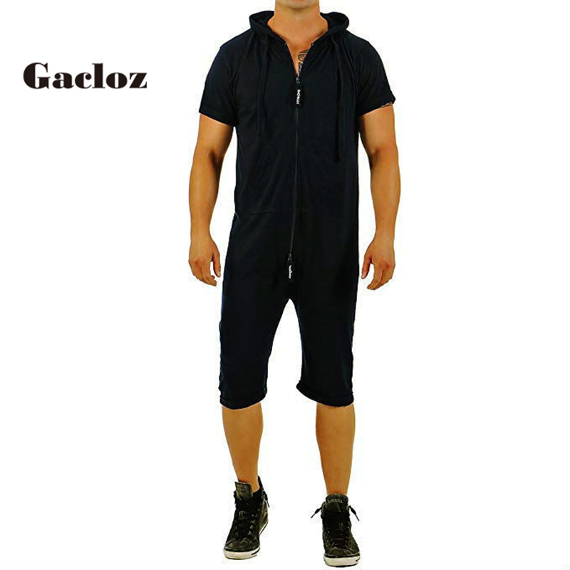 ALL IN Men's Jumpsuit Short Nigtwear hoodie zip Sleep Lounge Adult Sleepwear