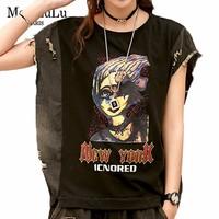 Max LuLu Summer Korean Fashion Brand Ladies Vintage Crop Tops Womens Holes Cartoon Black Tshirt Female Vogue Tee Shirt Plus Size