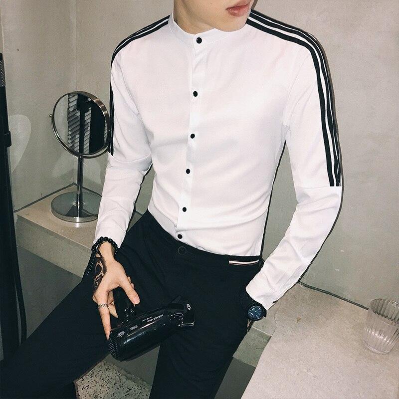Herrenbekleidung & Zubehör Hemden Frühling Koreanische Langarm Slim Fit Shirt Streetwear Herren Casual Chemise Homme Lässig Sozialen Männer Club Hemd Camisa Masculina 5xl Krankheiten Zu Verhindern Und Zu Heilen
