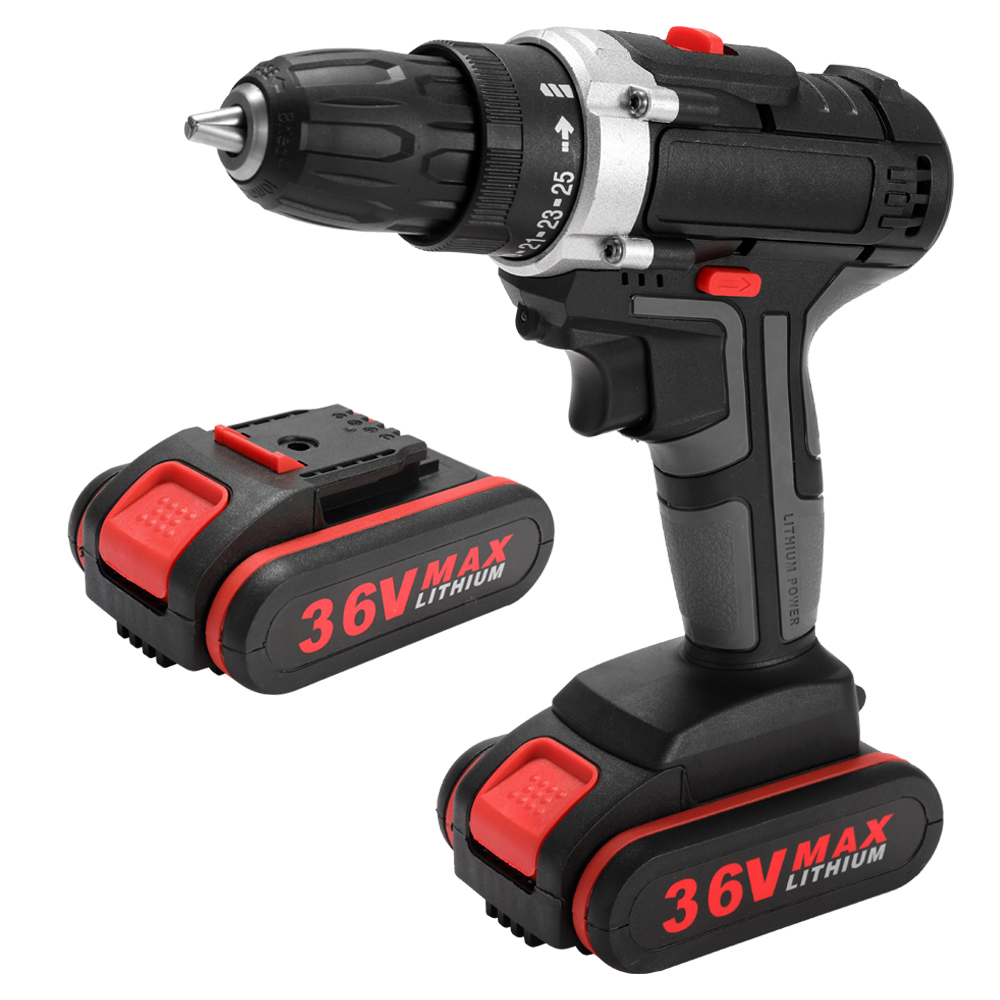 36V power tool hand driver electric impact drill lithium cordless drill household rechargeable electric screwdriver 2 Batteries36V power tool hand driver electric impact drill lithium cordless drill household rechargeable electric screwdriver 2 Batteries