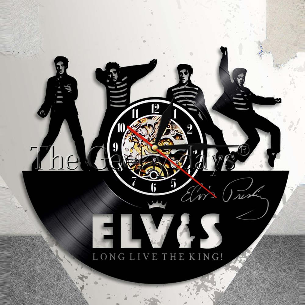 US $19 0  King Of Pop Music Elvis Presley Wall Clock Elvis Presley Vintage  Vinyl Record Wall Art Modern Wall Clock Rock n Roll Music Gift-in Wall