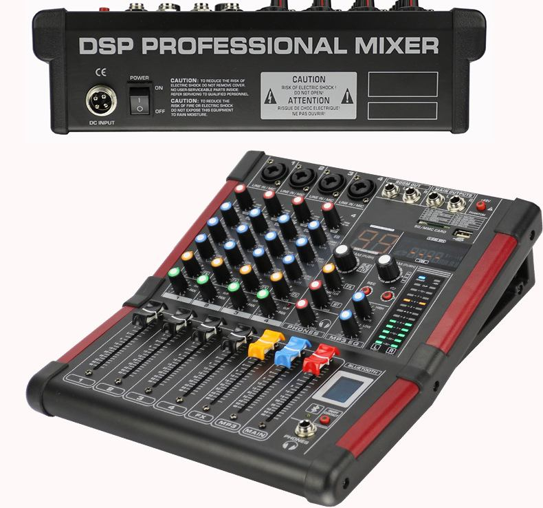 LEORY 4 Channel DJ Mixer Karaoke bluetooth 99 DSP KTV Live Mixing USB Console USB Amplifier Professional