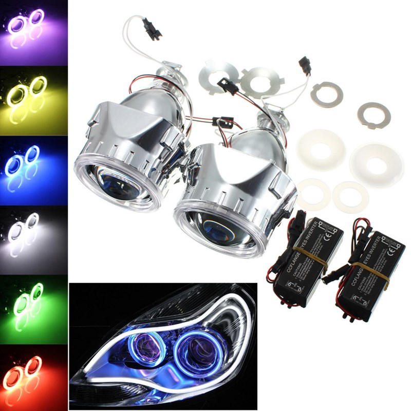 Hot 2Pcs 2.5 Inch Universal Bi xenon for HID Projector <font><b>Lens</b></font> Silver Black Shroud H1 Xenon <font><b>LED</b></font> Bulb H4 <font><b>H7</b></font> Motorcycle Car <font><b>Headlight</b></font> image
