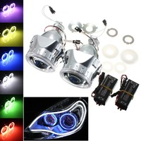 Hot 2Pcs 2.5 Inch Universal Bi xenon for HID Projector Lens Silver Black Shroud H1 Xenon LED Bulb H4 H7 Motorcycle Car Headlight