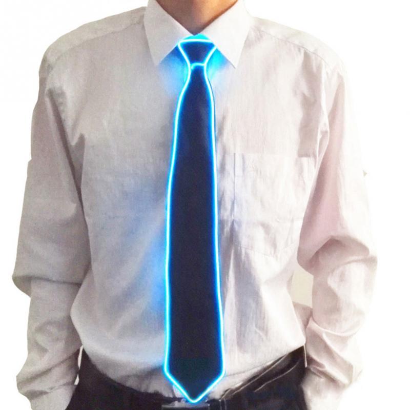 Men Creatively Light Up LED Flashing Ties Male Striped Glowing EL Tie Luminous Necktie Club Cosplay Tie #137