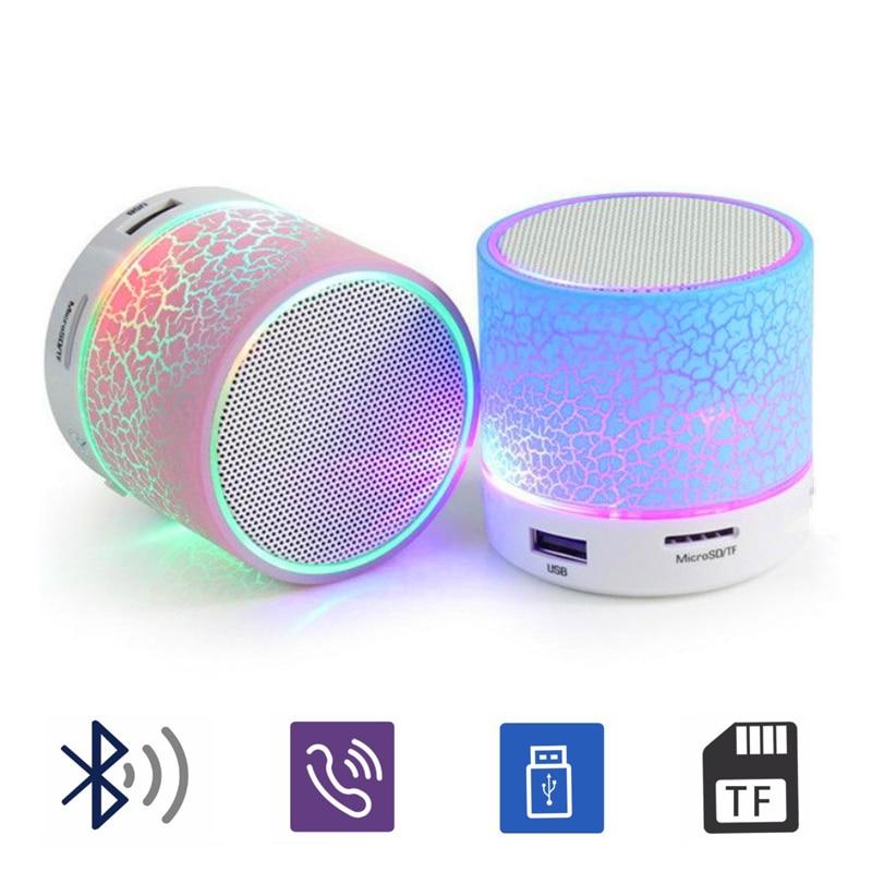 1164eac626 Portátil A9 Bluetooth inalámbrico altavoz Crack LED TF Subwoofer mp3 de  audio estéreo reproductor de música
