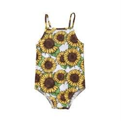 Цельный купальник с подсолнухами для маленьких девочек; детский летний купальник с ремешками; бикини; купальный костюм; купальник 2-6T