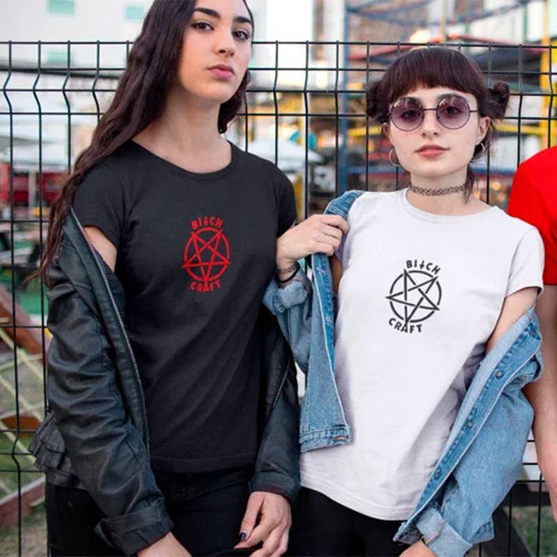4c16cd8380a5 Tshirt Gothic Women Plus Size Fashion Shirt Tops Punk Bitch Craft T-Shirt  Top T
