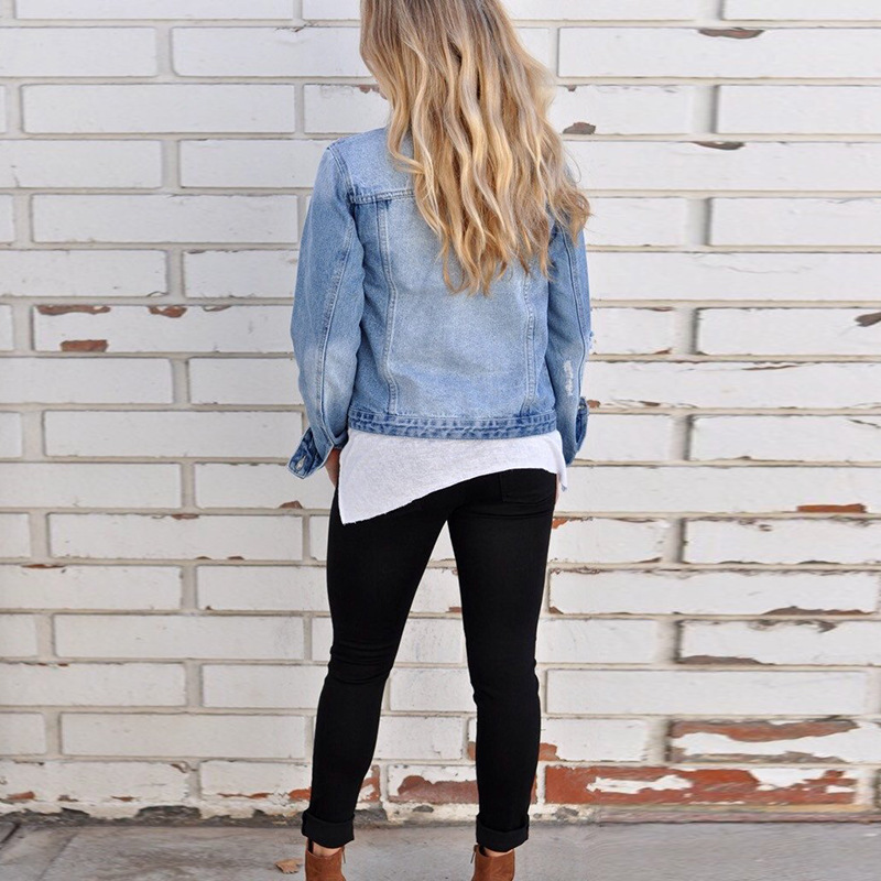 Women Baisc Denim Jackets Slim Blue Jeans Coat Casual Long Sleeve Vintage Turn-Down Collar Ladies Single Breasted Jacket 2019