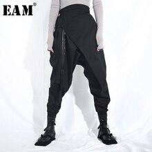 [EAM] 2020 חדש אביב סתיו גבוהה אלסטי מותניים Loose שחור סרט פיצול משותף הרמון מכנסיים נשים מכנסיים אופנה גאות LA98