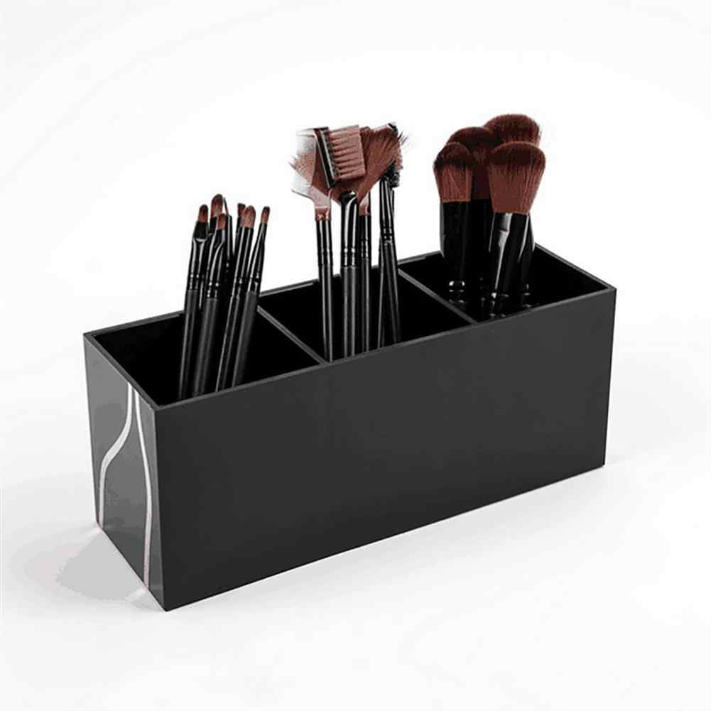 2019 1Pc New Table Makeup Brush Holder Organizer 3 Slot Acrylic Solid Color Cosmetics Tools Storage Case Black Beauty Tool