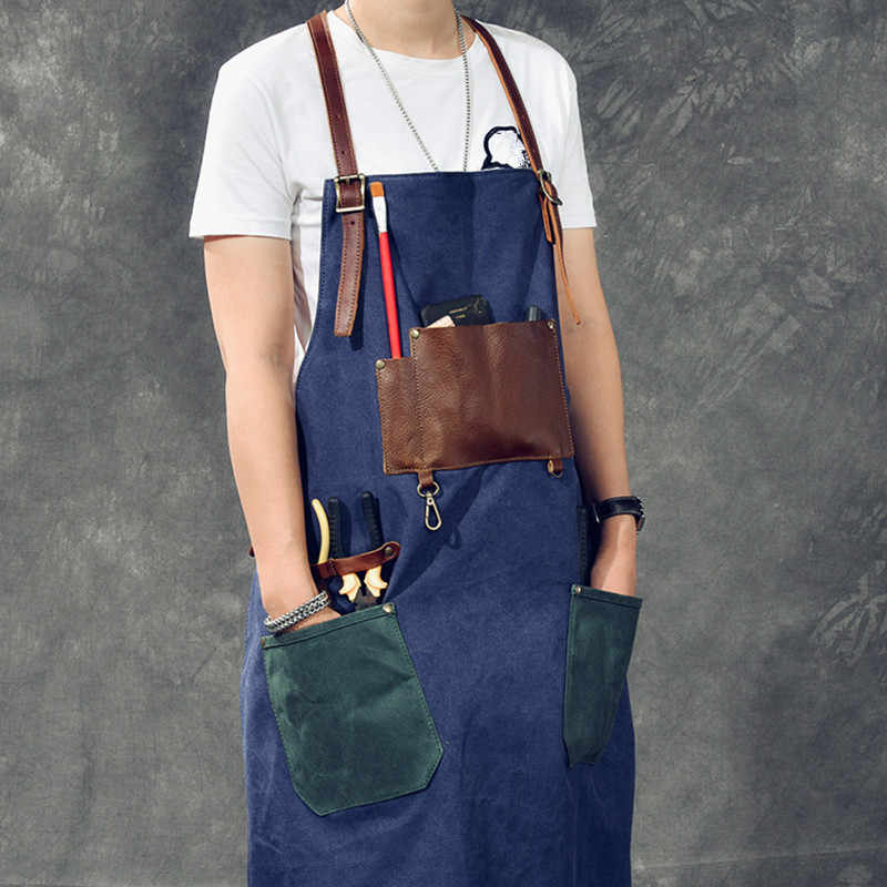 Синий, серый парусиновый передник, хлопок, кожаный ремешок, Парикмахерская, флорист, садовник, художник, рабочая одежда, бармен, официанты, униформа K90
