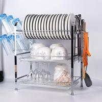 Multi Function Storage Rack Drying Three Layer Chrome Plate Drain Rack Kitchen Storage Rack With Drainage Board