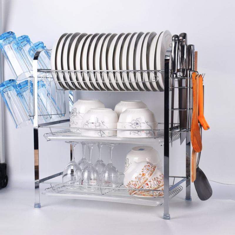 Multi-Funzione di Stoccaggio Rack di Essiccazione Tre-Strato di Cromo Piatto Cremagliera di Scarico Contenitori e complementi per Cucina rack Con A bordo Di drenaggio