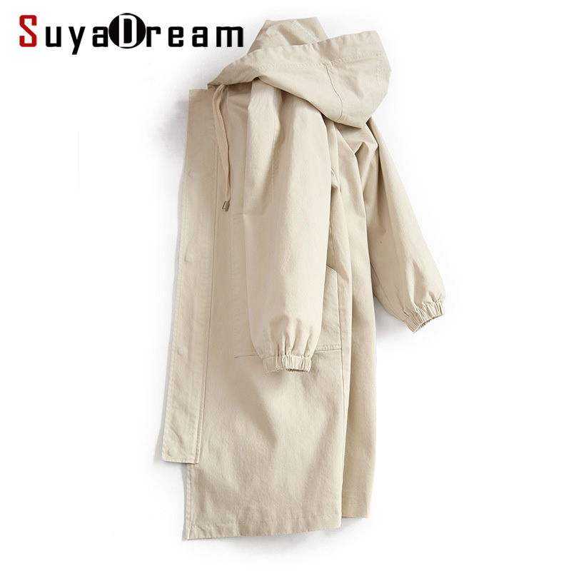 Women Hooded   Trench   100%Cotton Wide Waisted Long   Trench   coat 2019 Spring New Beige Black Outwear for Women