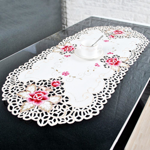 Handmade Embroidery Lace Cutwork Tablecloth Home Dinner Table Cover Decor Z