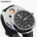 Часы с прикуривателем мужские  с зарядкой от USB  модные  ветрозащитные  спортивные  повседневные  кварцевые часы с Беспламенной зажигалкой ...