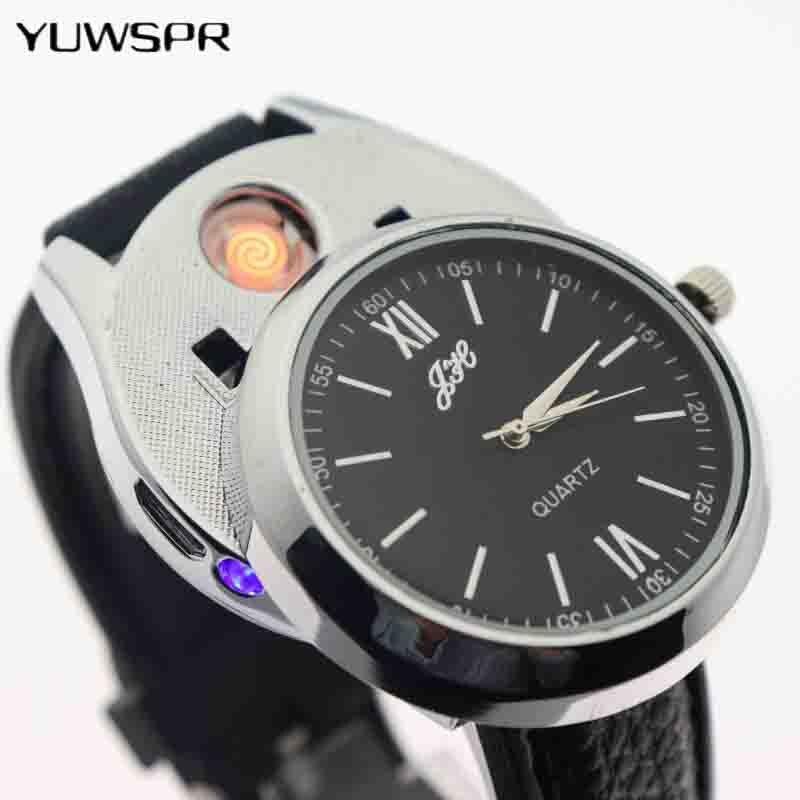 Cigarette Lighter Watch Men USB Rechargeable Clock Fashion Windproof Sports Casual Quartz Watches Flameless Lighter JH318 1pcs