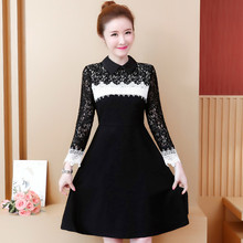 Women Lace Mini Dress New 2019 Spring Autumn Fashion Long Sleeve Turn-down Collar Elegant Slim A-line Party Dresses Plus Size women chiffon dress elegant 2019 spring new fashion solid color turn down collar long sleeved ruffles slim a line green dress