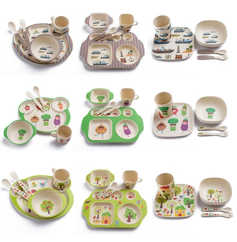 New Arrvial 5pcs Cat Boat Cartoon <font><b>Bamboo</b></font> Fiber Baby Tableware Fork Feeding Dishes For <font><b>Kids</b></font> Bowl Cup Spoon Plate Dinnerware image