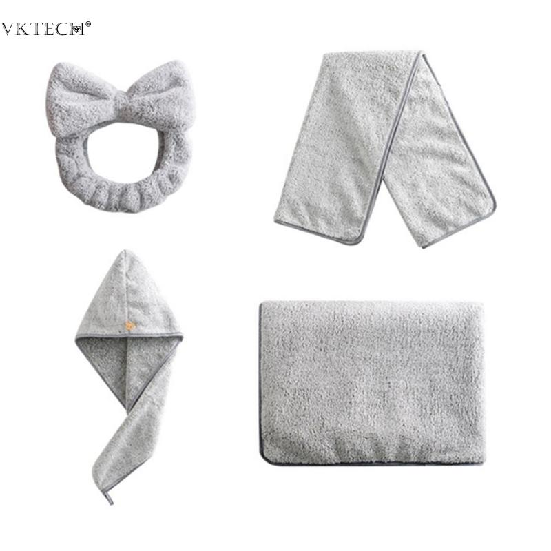 4pcsset Bamboo Carbon Fiber Towel Soft Thicken Fast Drying Absorbent Coral Fleece Bath Towel Dry Hair Cap Hair Band