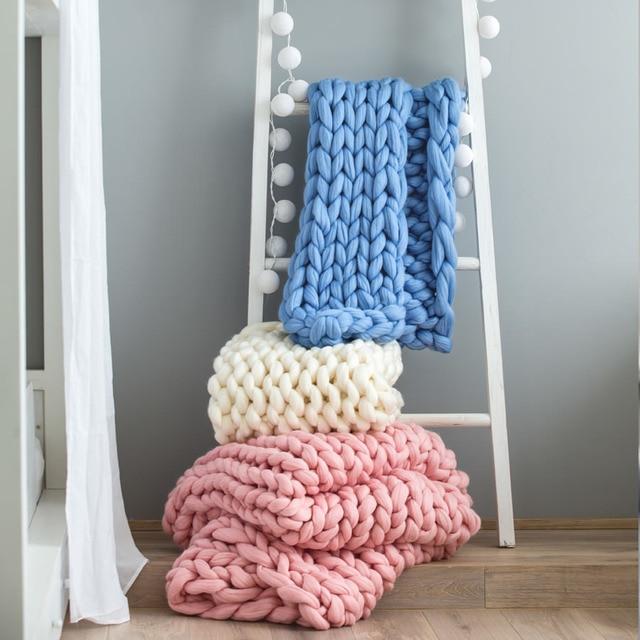 2018 New Chunky Knit Blanket Yarn Super Soft Bulk Roving Merino Wool