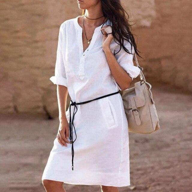 New 2019 Summer Half Sleeve Shirt Dress Women Fashion Pockets V Neck Casual Straight Dresses Vestidos Midi Beach Dress Female
