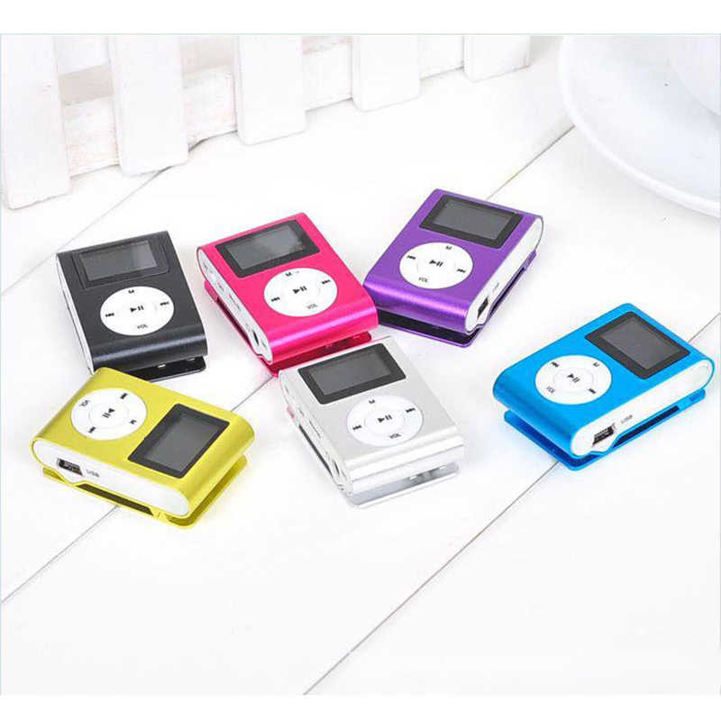 Mp3 Player USB Mini Klip MP3 Player Layar LCD 32GB Micro Sd Tf Kartu Radio Walkman Panduan Audio lagu Sub Judul 6 Warna