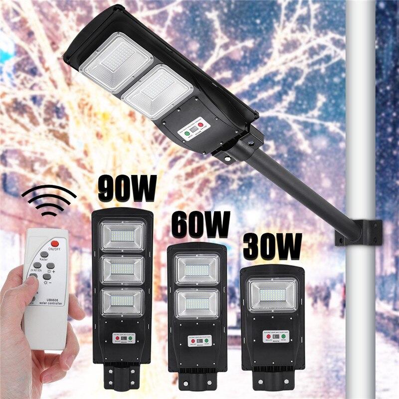 Lampadaire solaire LED 30W 60W 90W lumière LED Radar PIR capteur de mouvement lampe de distribution murale + télécommande étanche pour cour de jardin Plaza