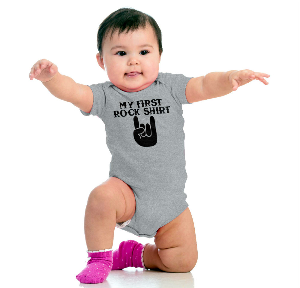 Baby Short Sleeve Cotton Baby Bodysuit Cute Baby Boy Clothes Jumpsuit Infant Outfit Baby Body Rock My First Rock Shirt