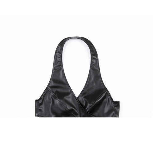 9be08d03e3ec8 ... 2019 Sexy Black Leather Cross Camis Womens Girl Bralette Cut-Out Crop  Top Tank Tops